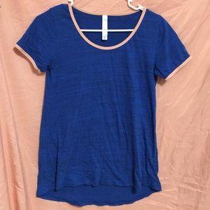 LuLaRoe Short Sleeve Tee Blue/Pink - XXS
